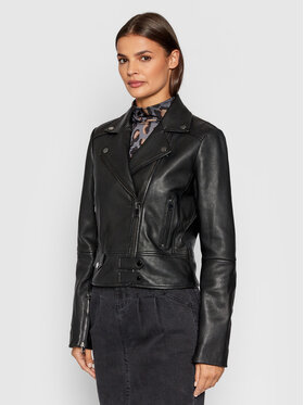 Pinko Pinko Kožená bunda Sensibile 1G1696 Y6WL Čierna Regular Fit