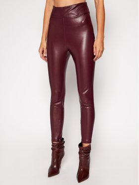 Guess Guess Spodnie skórzane Priscilla W0BB71 WBG60 Bordowy Extra Slim Fit