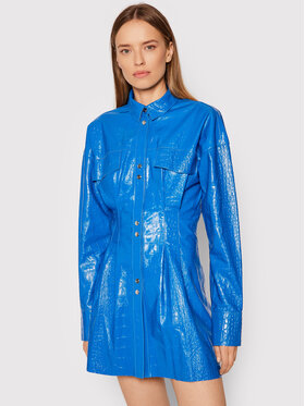 Remain Remain Μπουφάν δερμάτινο Daphne RM372 Μπλε Slim Fit