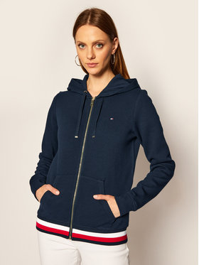 TOMMY HILFIGER TOMMY HILFIGER Mikina Heritage Zip-Through WW0WW24971 Tmavomodrá Regular Fit