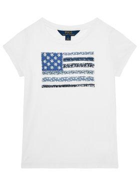 Polo Ralph Lauren Polo Ralph Lauren Tričko Ss Flag Tee 312785446001 Biela Regular Fit