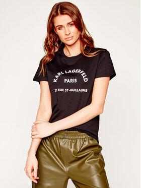 KARL LAGERFELD KARL LAGERFELD T-Shirt Address Logo 200W1741 Černá Regular Fit