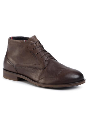 TOMMY HILFIGER TOMMY HILFIGER Auliniai batai Dress Casual Leather Boot FM0FM02587 Ruda