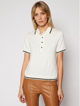 Luisa Spagnoli Luisa Spagnoli Тениска с яка и копчета Biglietto 0660522 Бял Regular Fit