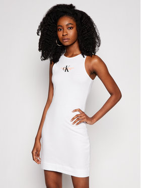 Calvin Klein Jeans Calvin Klein Jeans Každodenní šaty J20J216352 Bílá Slim Fit