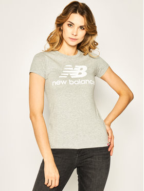 New Balance New Balance T-Shirt Essentials Stacked Logo Tee WT91546 Szary Athletic Fit