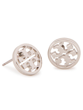 Tory Burch Tory Burch Kolczyki Logo Circle Stud Earring 11165518 Srebrny