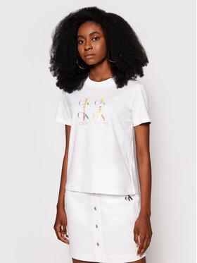 Calvin Klein Jeans Calvin Klein Jeans Marškinėliai J20J215637 Balta Regular Fit