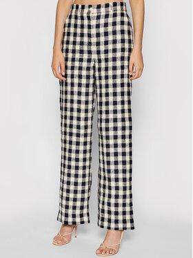 Tory Burch Tory Burch Spodnie materiałowe Linen Gingham 84521 Kolorowy Regular Fit