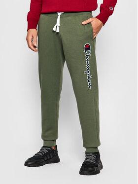 Champion Champion Spodnie dresowe Blend Vertical Script Logo 216472 Zielony Regular Fit