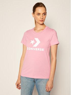 Converse Converse Marškinėliai Star Chevron Plaid Infill 10020874-A17 Rožinė Regular Fit