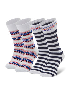 Tommy Hilfiger Tommy Hilfiger Set di 2 paia di calzini lunghi da bambini 100002311 Bianco