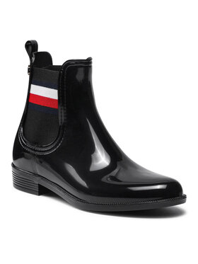 Tommy Hilfiger Tommy Hilfiger Kotníková obuv s elastickým prvkem Corporate Ribbon Rainbot FW0FW05969 Černá
