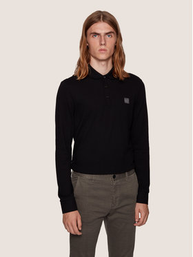 Boss Boss Тениска с яка и копчета Passerby 50387465 Черен Slim Fit