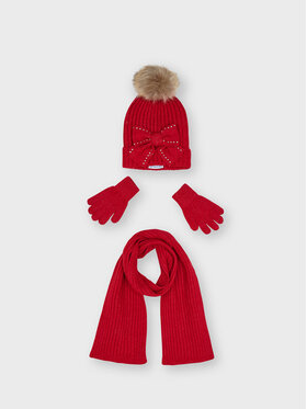 Mayoral Mayoral Комплект шапка, шал и ръкавици 10155 Червен