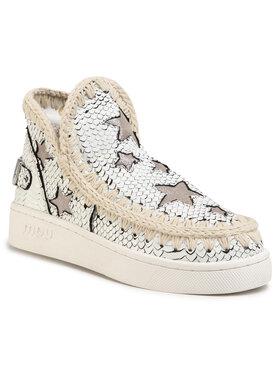 Mou Mou Buty Summer Eskimo Sneaker With Stars Biały