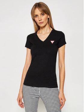 Guess Guess Marškinėliai Mini Triangle W1GI17 J1311 Juoda Slim Fit