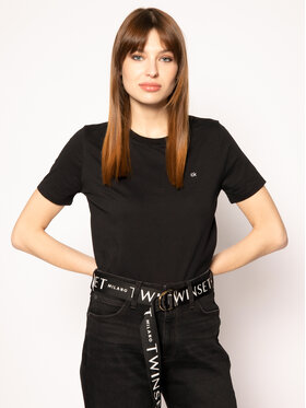 Calvin Klein Calvin Klein T-Shirt Embroidered Tee K20K202021 Czarny Regular Fit