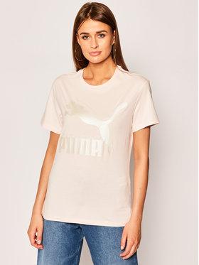 Puma Puma Marškinėliai Classics Logo Tee 595514 Rožinė Regular Fit