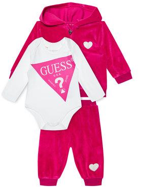 Guess Guess Кмплект суитшърт, боди и спортни панталони H0BW01 KA2X0 Розов Regular Fit