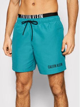 Calvin Klein Swimwear Calvin Klein Swimwear Szorty kąpielowe Medium Double Wb KM0KM00552 Zielony Regular Fit