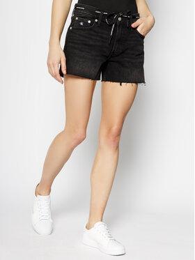 Calvin Klein Jeans Calvin Klein Jeans Szorty jeansowe Tie Waist Denim J20J213349 Czarny Regular Fit