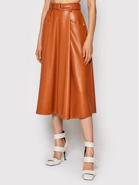 MSGM MSGM Suknja od imitacije kože 3141MDD10 217616 Smeđa Regular Fit