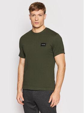 Calvin Klein Calvin Klein T-shirt Turn-Up K10K107846 Zelena Regular Fit