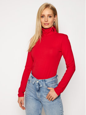 Calvin Klein Jeans Calvin Klein Jeans Bluză cu gât J20J214932 Roșu Slim Fit
