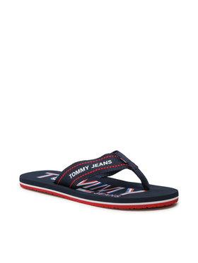 Tommy Jeans Tommy Jeans Šlepetės per pirštą Printed Beach Sandal EM0EM00728 Tamsiai mėlyna