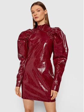 ROTATE ROTATE Sukienka z imitacji skóry Kim RT450 Bordowy Regular Fit