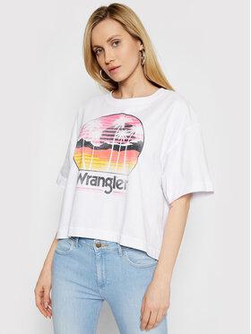 Wrangler Wrangler T-Shirt Boxy W7S2GF989 Biały Relaxed Fit