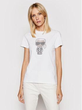 KARL LAGERFELD KARL LAGERFELD T-Shirt Ikonik Rhinestone Karl 210W1726 Bílá Regular Fit