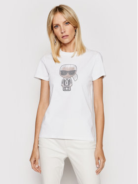KARL LAGERFELD KARL LAGERFELD T-Shirt Ikonik Rhinestone Karl 210W1726 Weiß Regular Fit