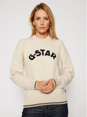 G-Star Raw G-Star Raw Sweter College D17750-C459-1603 Beżowy Loose Fit