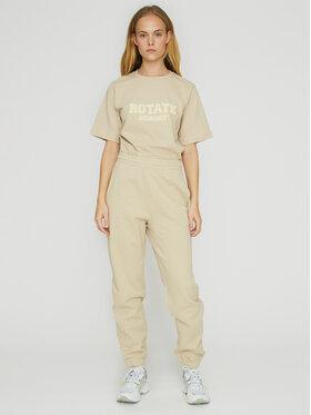 ROTATE ROTATE Teplákové nohavice Mimi RT470 Béžová Loose Fit