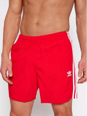 adidas adidas Szorty kąpielowe 3-Stripe GN3526 Czerwony Regular Fit