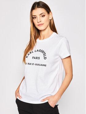 KARL LAGERFELD KARL LAGERFELD T-Shirt Address Logo 200W1741 Weiß Regular Fit