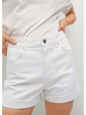 Mango Mango Szorty jeansowe Mom80 17010113 Biały Mom Fit