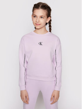 Calvin Klein Calvin Klein Majica dugih rukava Pipping Boxy IG0IG00754 Ljubičasta Regular Fit
