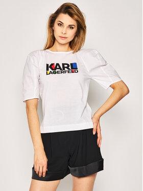 KARL LAGERFELD Tričko Bauhaus Logo 201W1740 Biela Regular Fit