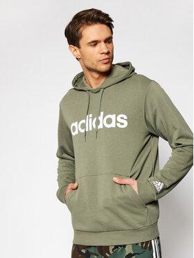 adidas adidas Mikina Essentials French Terry Linear Logo GK9067 Zelená Regular Fit