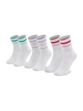 Fila Fila Σετ 3 ζευγάρια ψηλές κάλτσες γυναικείες Calza F6115 Λευκό