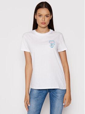 KARL LAGERFELD KARL LAGERFELD T-Shirt Mini Karl Ikonik Outline 215W1712 Bílá Regular Fit