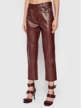 Marella Marella Панталони от имитация на кожа Valdena 37860218 Кафяв Straight Fit