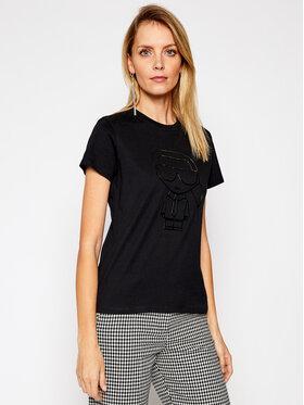 KARL LAGERFELD KARL LAGERFELD T-shirt Ikonic Outline 210W1703 Crna Regular Fit