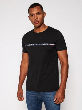 TOMMY HILFIGER TOMMY HILFIGER Tričko Mini Stripe MW0MW15319 Čierna Regular Fit