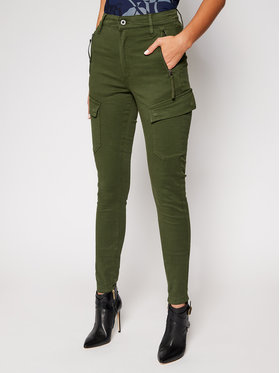 G-Star RAW G-Star RAW Kalhoty z materiálu High G-Shape D18051-C106-C026 Zelená Skinny Fit