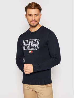 TOMMY HILFIGER TOMMY HILFIGER Svetr Contrasted Chest Logo MW0MW15456 Tmavomodrá Regular Fit