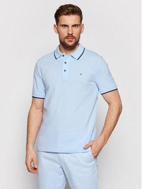 Calvin Klein Calvin Klein Тениска с яка и копчета Stretch Tipping Син Slim Fit